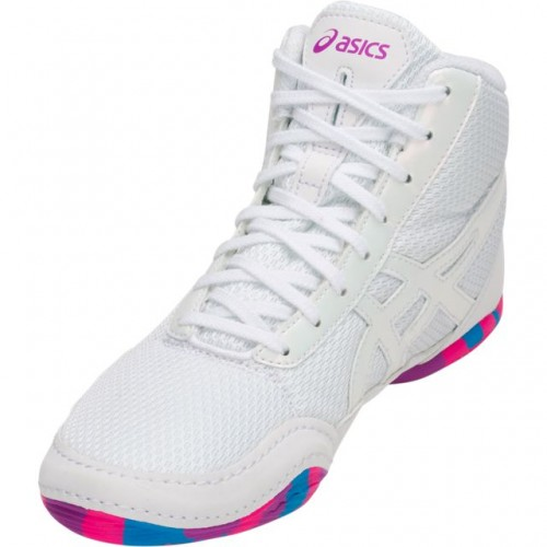 a91feb01a88e Wrestling Shoes Asics Matflex 5 GS Youth White Pink Blue by JRWrestling